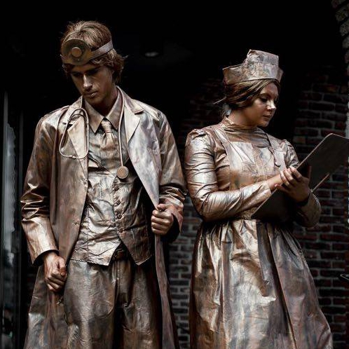 Doctor and Nurse Living Statues Street Performer Leicestershire