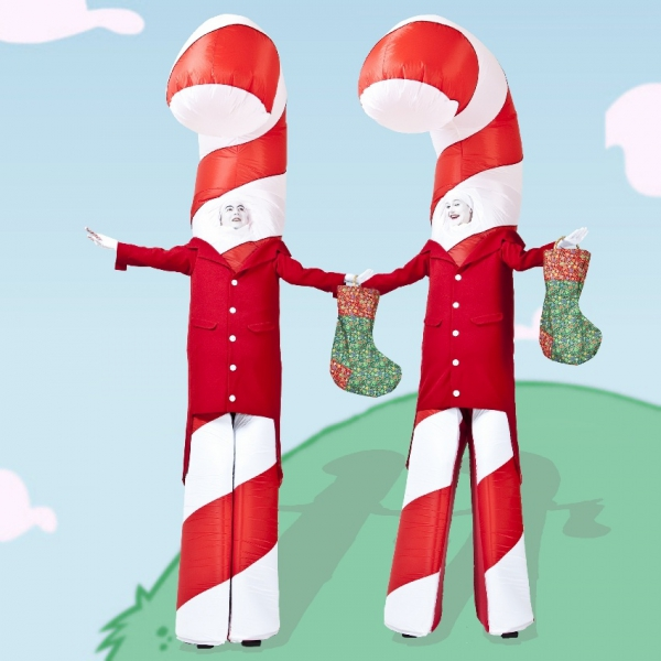 Candy Cane Stilt Walkers Mix and Mingle Christmas Entertainers East Sussex