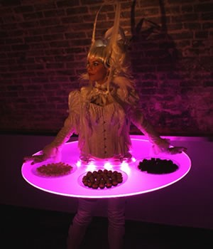 Light up living tables human tables east sussex alive for Human canape trays