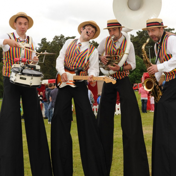 The Ten Foot Troubadours Stilt Walking Band East Sussex