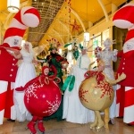 Promo Candy Cane Stilt Walkers Mix and Mingle Christmas Entertainers Brighton, East Sussex
