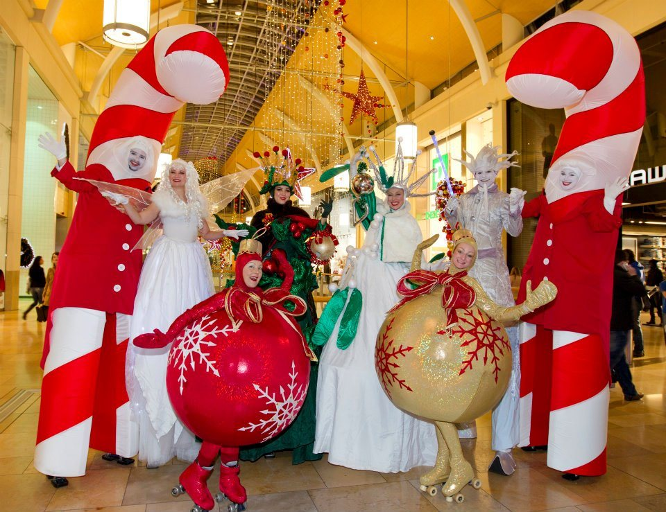 Promo Candy Cane Stilt Walkers Christmas Themed Walkabout Entertainers East Sussex