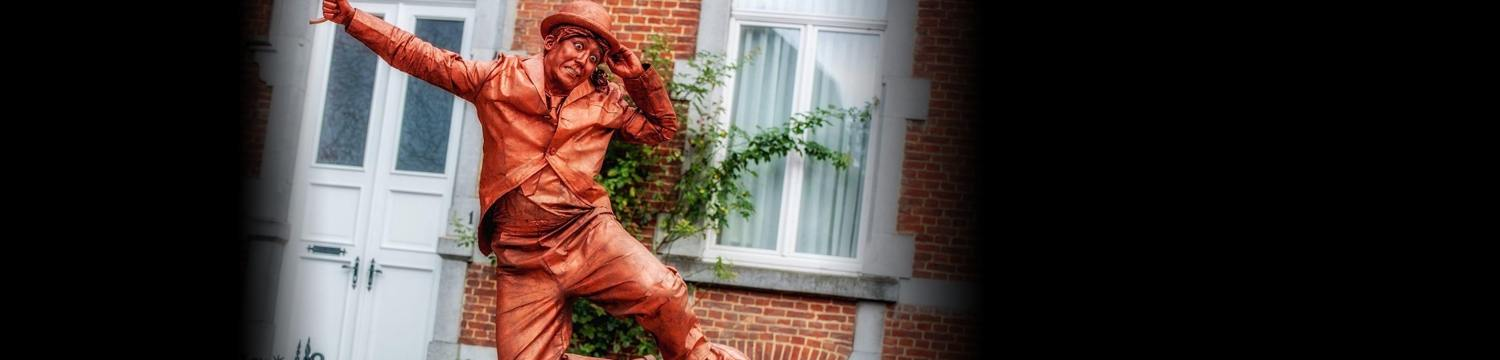 charlie chaplin living statue street performer leicestershire
