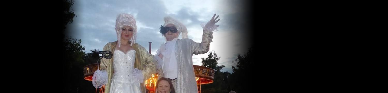 masquerade stilt walkers street performer leicestershire